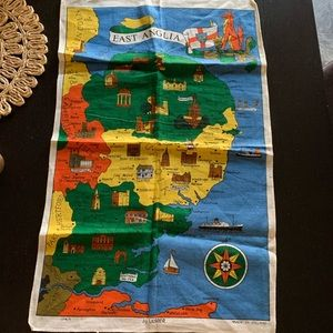 Anglia colorful map tapestry wall hanging